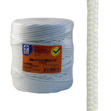 CUERDA NYLON TRENZADO 4 MM BCO PROFER HOME 200 M