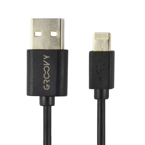 CABLE CARGADOR IPHONE NEGRO GROOVY 1 M