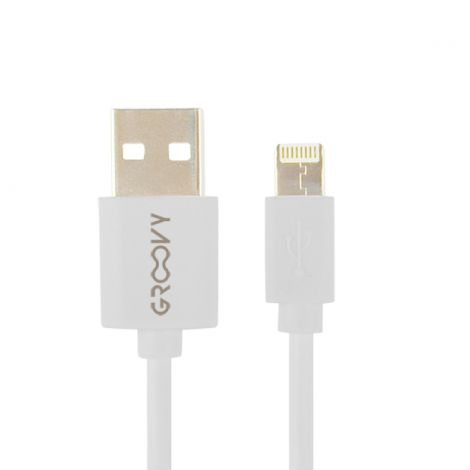 CABLE CARGADOR IPHONE BLANCO GROOVY 1 M