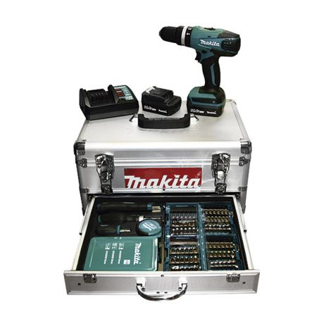 TALADRO COMBI LI 2V 10MM +SET MAKITA 14.4 V