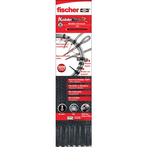 BRIDA FLEXIBLE REUTILIZABL 20U FISCHER KABLEFIX-R 6X320 MM