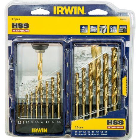 BROCA HSS TITANIO JGO 15 PZS IRWIN 1.5-10 MM