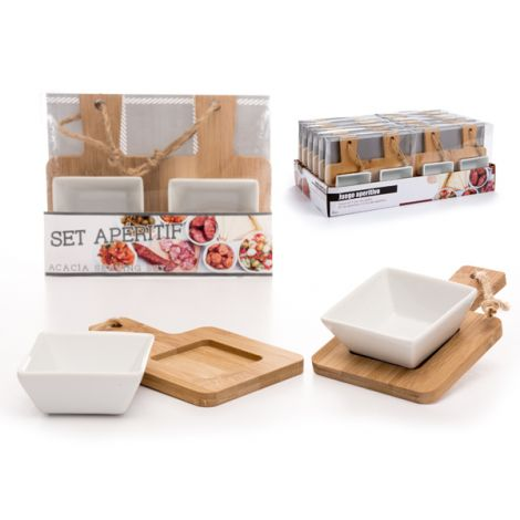 BOL APERITIVO SET-2 C/TABLA ARTE REGAL 16.5X10 CM