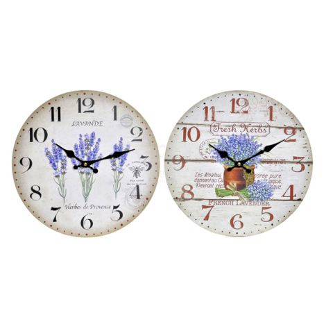 RELOJ PARED LAVANDA ITEM 34 CM